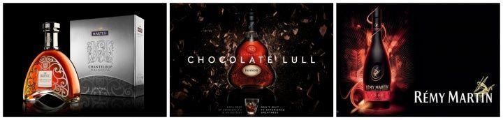 Cognac三個最大的品牌Hennessy(軒尼斯)、Rémy Martin(人頭馬)和Martell(馬爹利)。