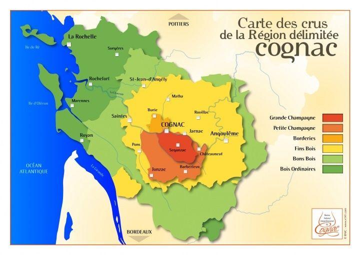 干邑白蘭地的產區地圖。