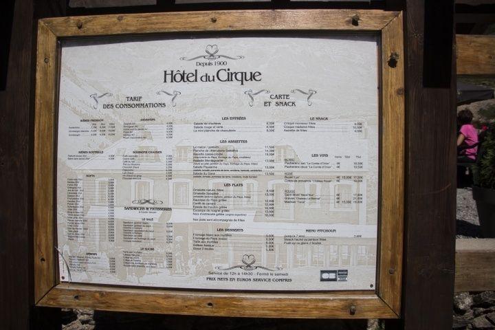 Gavarnie冰斗小餐廳的菜單。